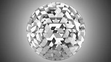 Grey polygonal spherical shape. Computer generated abstract 3D render illustration Stock Photo