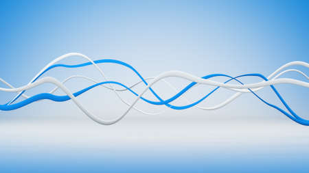 blue lines: Blue and white wavy lines. Abstract 3D render illustration