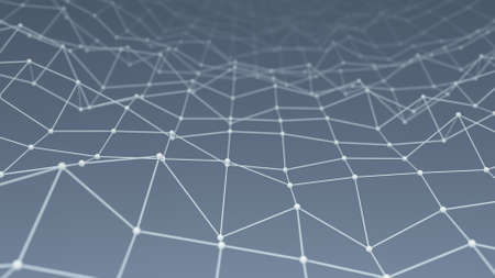 to pulsate: Wireframe network shape. Computer generated technology background. Abstract 3D render illustration