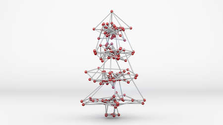 abstract tree: Wireframe mesh of christmas tree. Abstract holiday 3D render