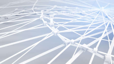 vibrate: White polygonal connected shape. Low poly futuristic construction. Abstract network 3D render. Shallow DOF Stock Photo