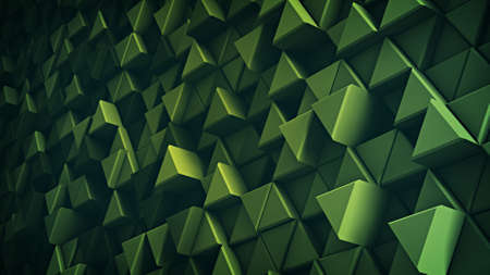triangles: Surface of green extruded triangles. Abstract trendy background with geometric elements. 3D render illustration Stock Photo