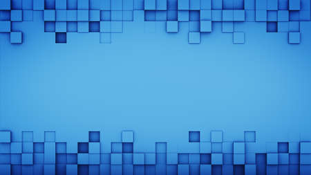 free space: Blue squares and free space. 3D render abstract background