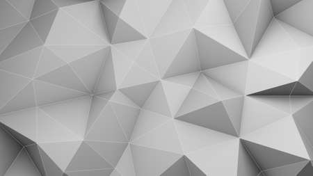 White low poly 3D surface chaotic deformed. Abstract geometric background. 3D render illustration