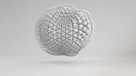 to pulsate: Deformed cluster of white spheres. Computer generated abstract 3D render