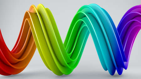 computer generated: Colorful twisted shape. Computer generated abstract geometric 3D render illustration