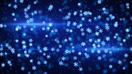 snowfall: blue glowing christmas snowfall