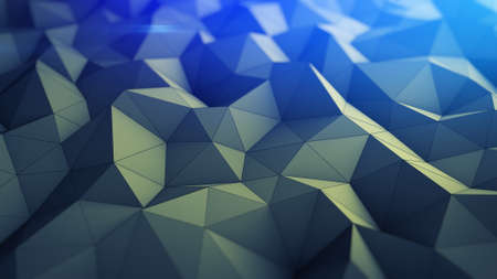 oscillate: Polygonal geometric background. Abstract 3D render illustration with shallow DOF