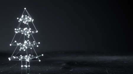 new technology: Glowing wireframe christmas tree shape. Abstract holiday 3D render Stock Photo