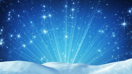 snow drift: snowdrift and magic light rays. Computer generated christmas background