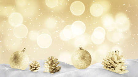 snow drift: christmas decoration on snow drift and golden sparkles Stock Photo