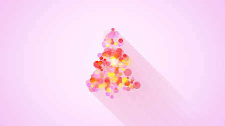 dcor: glow colorful christmas tree shape. flat style illustration with long shadows