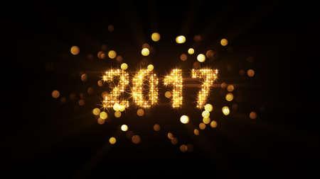 Neue Jahr 2017 Gruß und Feuerwerk Bokeh Standard-Bild - 65646550