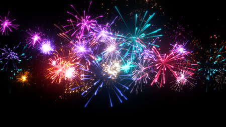 fireworks display with lots of colorful bursts. computer generated christmas illustration