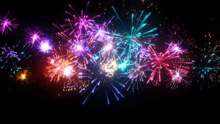 Fuegos artificiales con una gran cantidad de explosiones coloridas. ilustración generada por ordenador de navidad Foto de archivo - 65646547