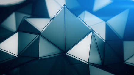 dof: Polygonal surface close-up shallow DOF. Abstract sci-fi 3D render illustration Stock Photo