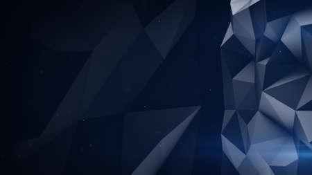 vibrating: Dark polygonal surface. Abstract 3D render illustration