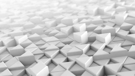 White extruded triangles. Abstract trendy background with geometric elements. 3D render illustration