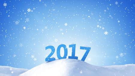 Nuevo año 2017 en señal de desviación de la nieve. Gráfico generado por ordenador Foto de archivo - 65668679