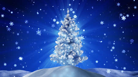 snow drift: glowing christmas tree at night outdoor Stock Photo