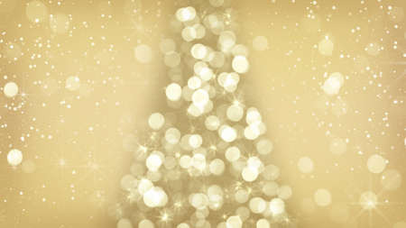 christmas symbol: golden christmas tree symbol. computer generated winter holidays background Stock Photo