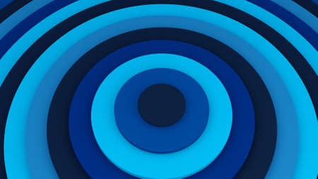 Blue concentric circles. Abstract background 3D illustration Stock Photo