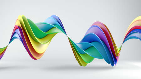 Rainbow spectrum twisted shape. Computer generated abstract geometric 3D render illustration