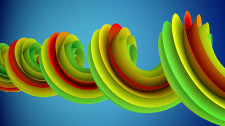 Colorful spiral curve. Computer generated abstract geometric 3D render