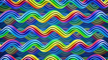 hypnotherapy: Bright color twisted trails ornament. Computer generated abstract 3D render Stock Photo