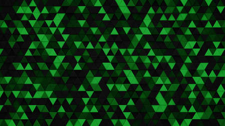 Dark green triangles chaotic extruded. Abstract geometric background. 3D render illustration