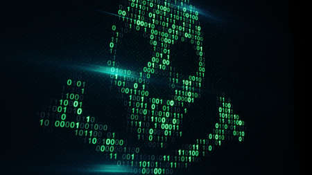 computer code: Skull shape of binary code on computer screen. Internet pirate and online security concept. Computer generated raster illustration