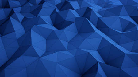 oscillate: Wavy blue low poly surface. Abstract 3D rendering