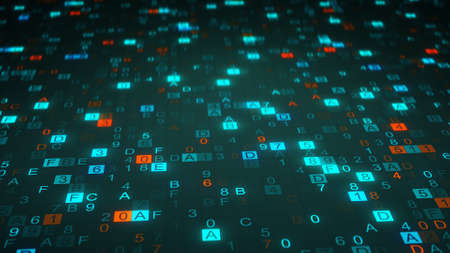 computer code: Digital hex code symbols on monitor. Computer generated abstract information technology raster illustration Stock Photo
