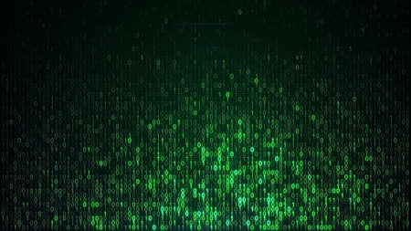 Green digital binary data. Computer generated abstract information technology background