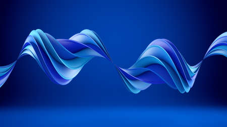 hypnotherapy: Blue twisted shape. Computer generated abstract geometric 3D render illustration
