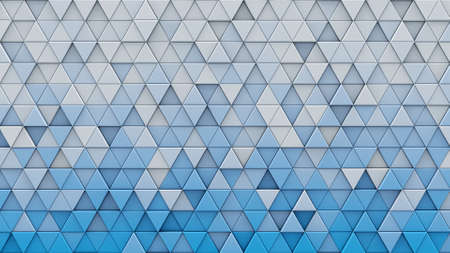 White blue gradient triangles extruded. Abstract geometric background. 3D render illustration
