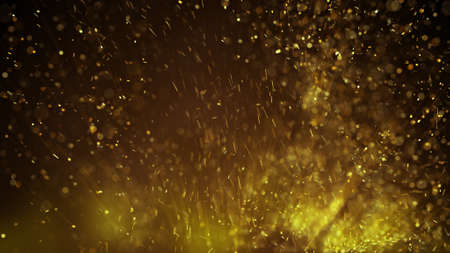 dof: Gold particles. Computer generated abstract background rendered with DOF and motion blur Stock Photo
