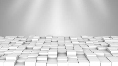 white boxes: White boxes and spotlights. Computer generated abstract 3D rendering