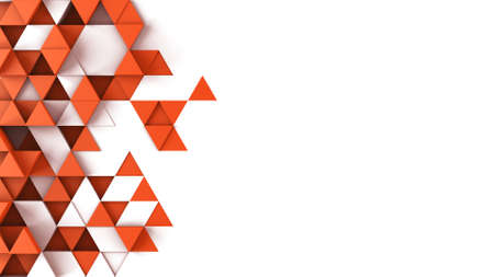 Red triangles extruded and free space. Abstract geometric background. 3D render illustration