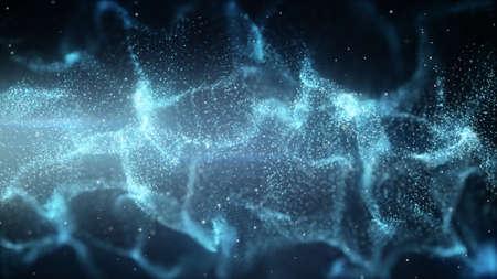 혼돈의 물결 모양의 입자. 컴퓨터는 추상적 인 배경을 생성. 피사계 심도로 렌더링