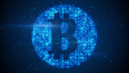 Bitcoin sign virtual currency symbol. Computer generated raster illustration Stock Photo