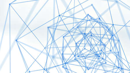 Blue network shape. Abstract futuristic sc-fi concept. 3D render with shallow DOF
