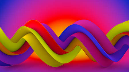 Bright color shape. Computer generated abstract geometric 3D rendering