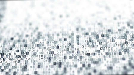 Digital data hex code symbols. Abstract information technology background. Computer generated raster illustration rendered with DOF
