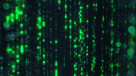 dof: Green matrix rain of digital HEX code on computer screen. Abstract technology 3D render with shallow DOF
