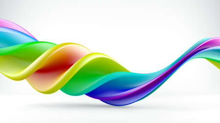 Bright colorful twisted shape. Abstract 3D render  Stock Photo
