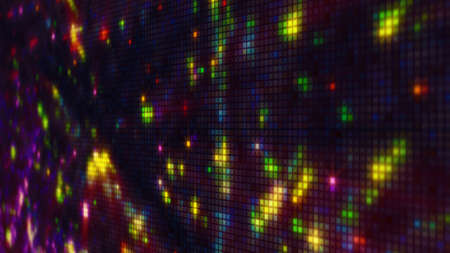 dof: Fireworks on pixelated LED panel. Abstract background. Computer generated illustration with shallow DOF  Stock Photo