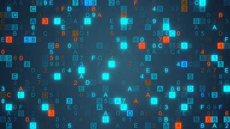 hexadecimal: Digital data hex code symbols. Abstract information technology background. Computer generated raster illustration