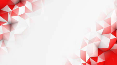 Red polygons and free space. Abstract 3D render background  Imagens