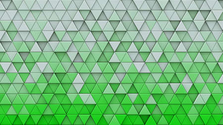 White green gradient triangles extruded. Abstract geometric background. 3D render illustration  Stock Photo